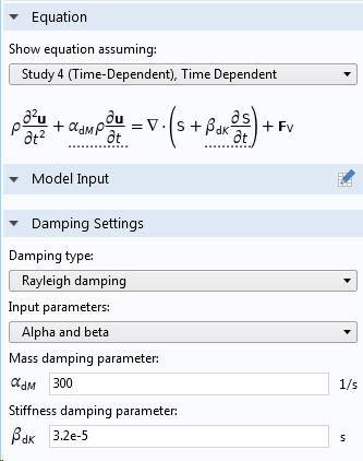 Screenshot of the Rayleigh damping parameters as a direct input of α and β.