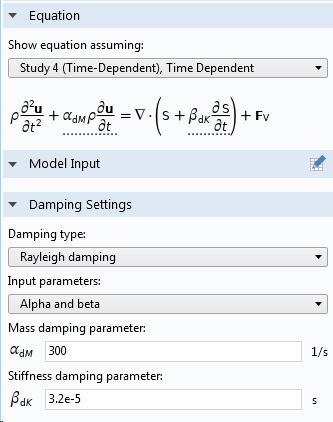 Задание рэлеевского демпфирования через коэффициенты α и β.