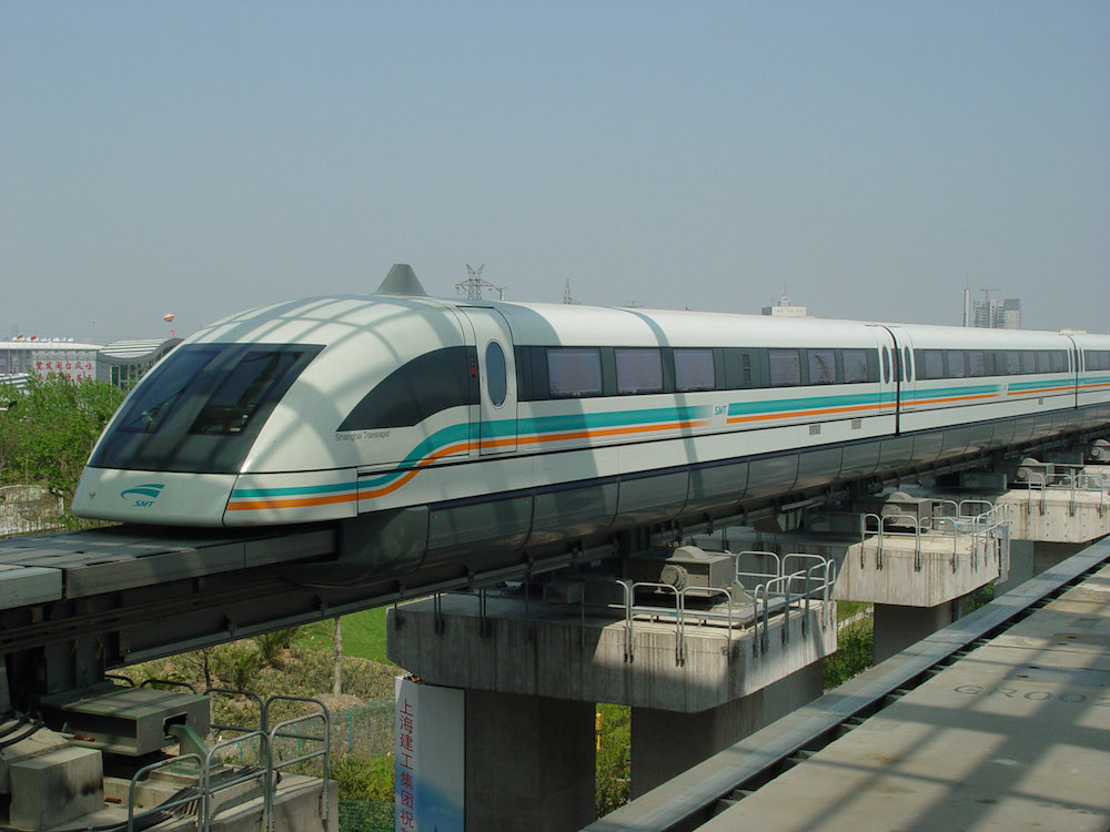 A photo of the magnetic levitation train in Shanghai.
