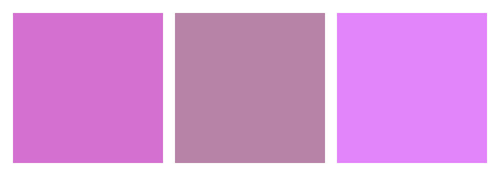 An image showing the three different shades of mauve from left to right: deep mauve, opera mauve, and rich mauve.