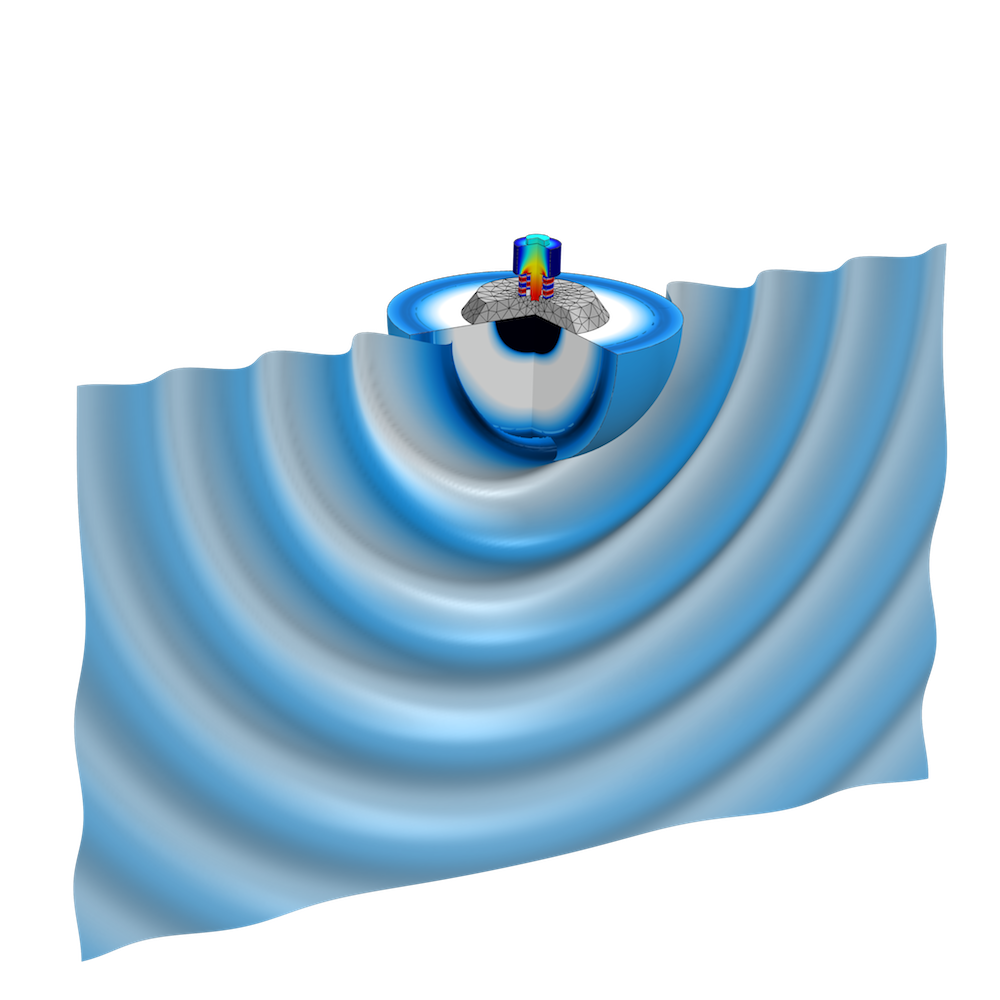 A visualization of the sound emission of a Tonpilz transducer.