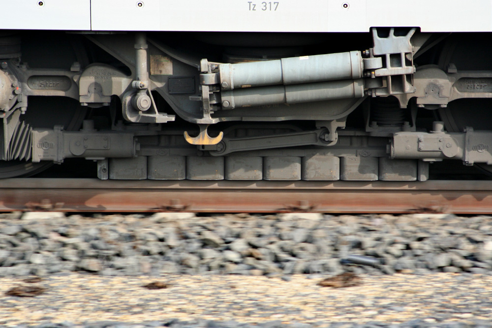 A photo of a high-speed train that uses eddy current brakes.