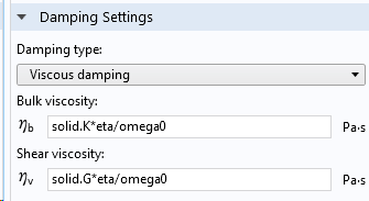 A screenshot showing the damping settings for viscous damping.