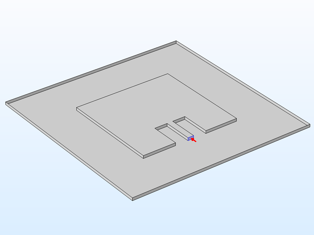 A schematic of a microstrip line with the boundary selection of the lumped port highlighted.