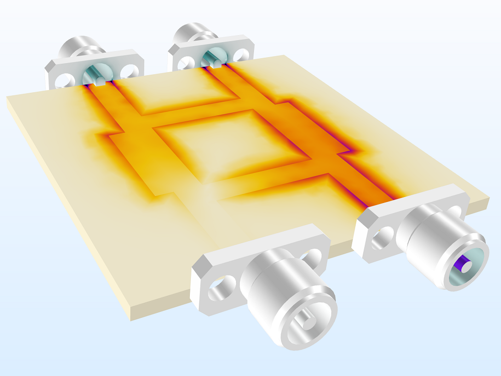 An image of a branch line coupler model.