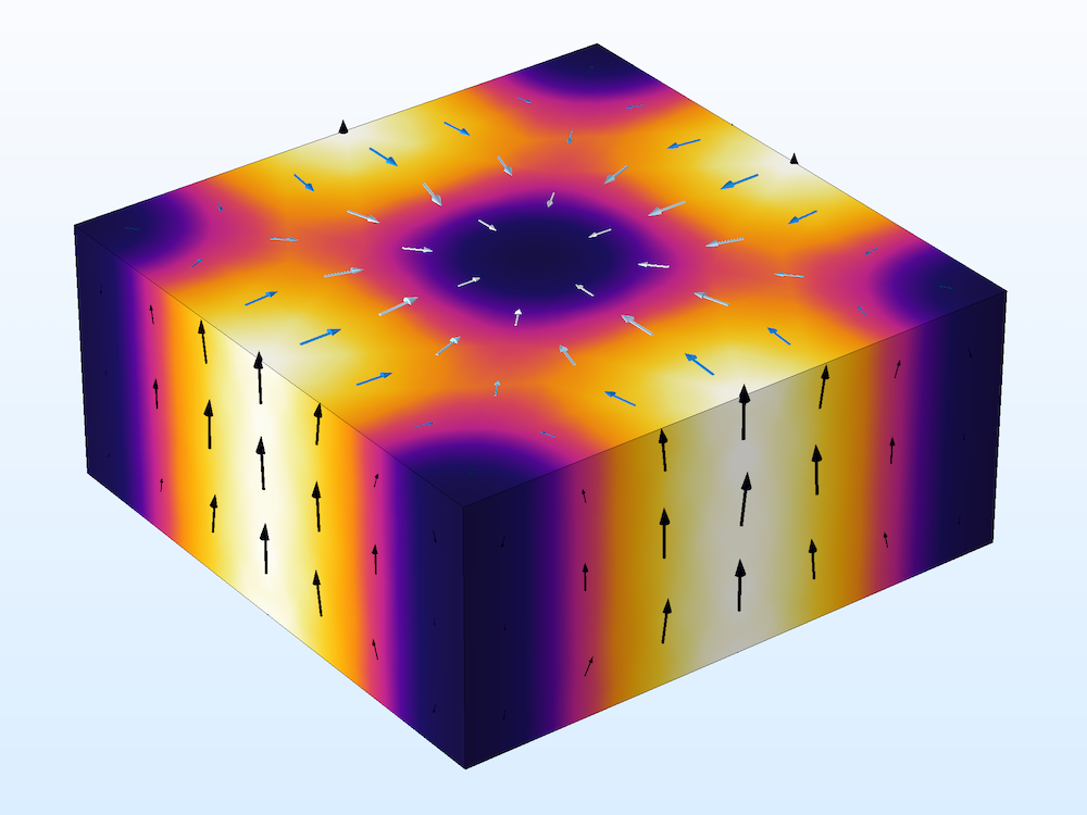 An image of a cavity resonator modeled with the physics interfaces and studies in the RF Module.