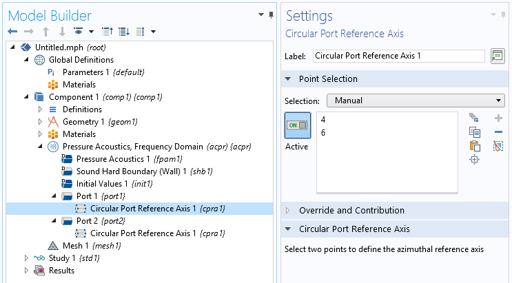 A screenshot of the settings for the circular point reference axis in COMSOL Multiphysics®.