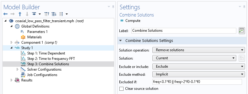 A screenshot of the Settings window for the Combine Solutions feature.
