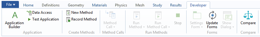 A screenshot of the Developer toolbar on a Windows® operating system.