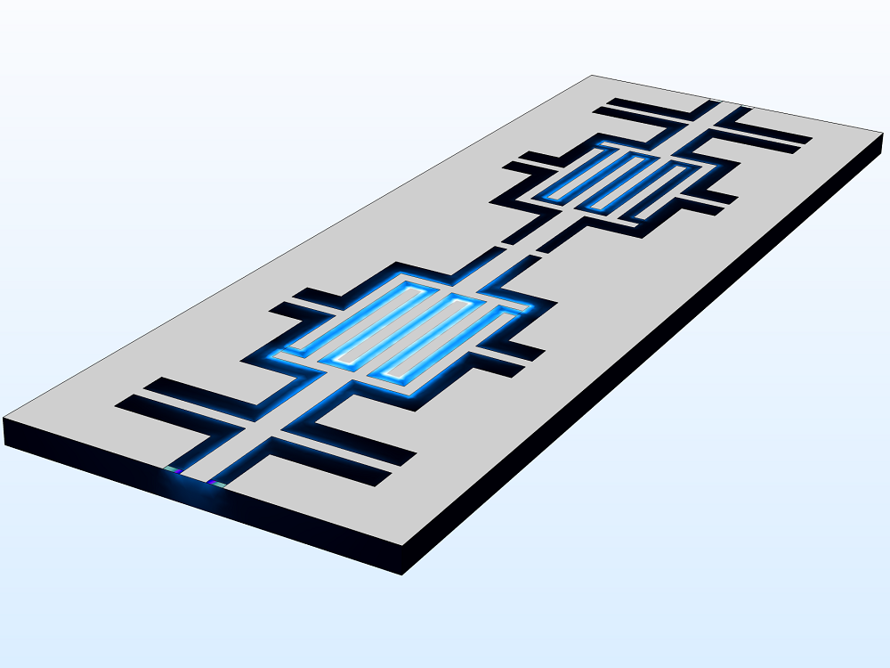 An image of a coplanar waveguide bandpass filter model.