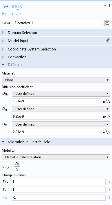 A screenshot of the Settings window for the electrolyte modeled in COMSOL Multiphysics®.