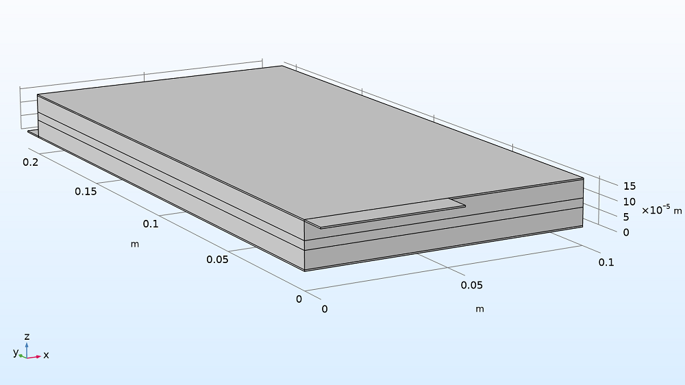 The geometry of the lithium-ion battery pouch cell model.