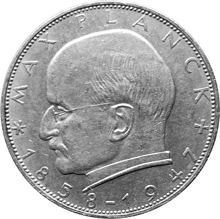 An image of a German coin with the face of Max Planck on it.