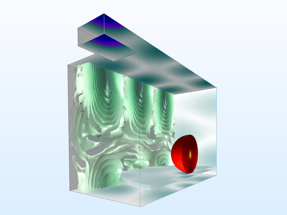 Simulation results showing the varying temperature in a microwave oven.
