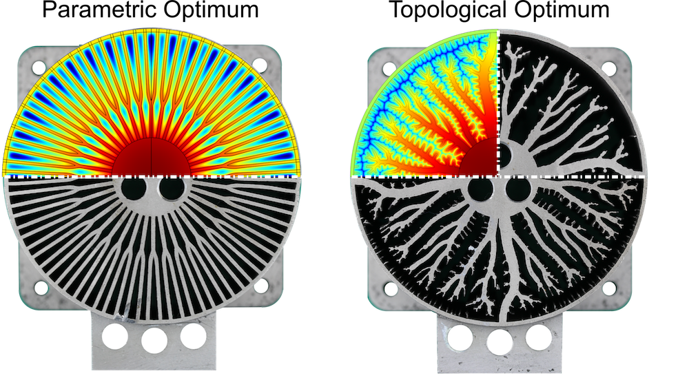 Side-by-side simulation results used to find the best heat sink design for 3D printing.