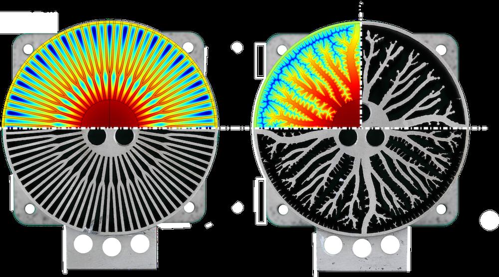 用于找出最佳三维打印散热器设计的并排显示的仿真结果。