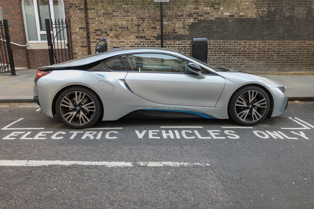 A photograph of an electric vehicle.