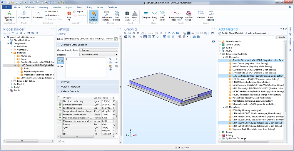 A screenshot of the COMSOL Multiphysics® Model Builder with a materials list open.