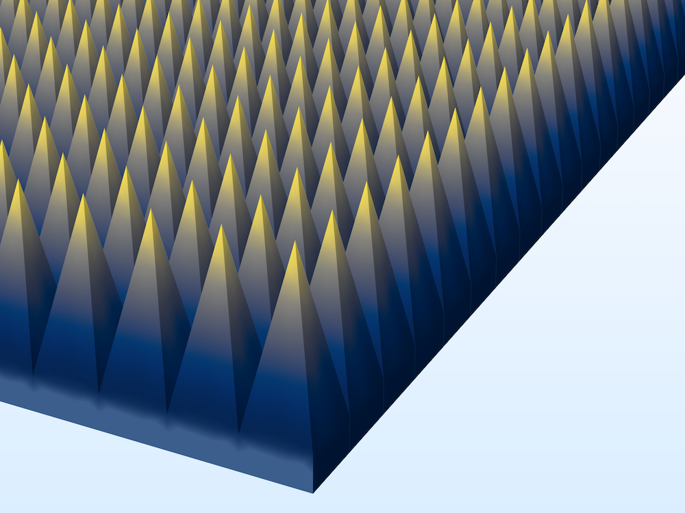 An image of an infinite array of pyramidal absorbers in COMSOL Multiphysics®.