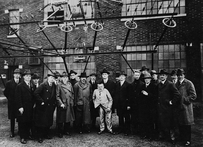 A photograph of a group of scientists and engineers at RCA, with Albert Einstein and Charles Steinmetz in attendance.