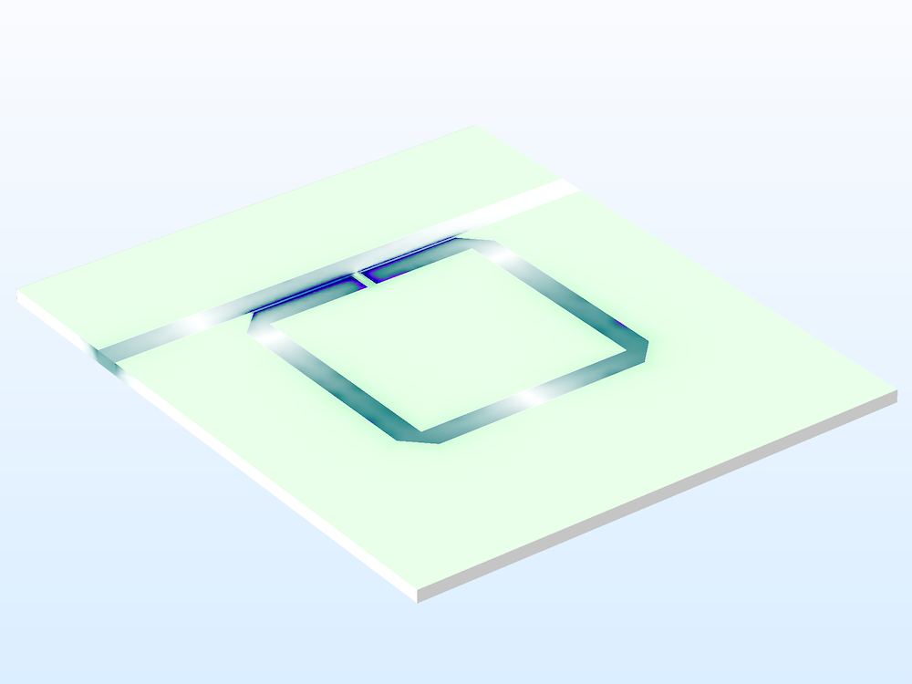 An image of a split ring resonator notch filter model.