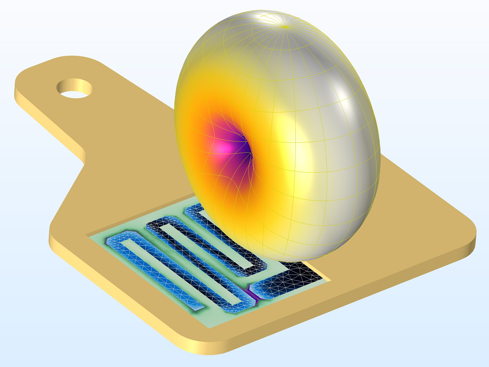 An image of a UHF RFID tag modeled in COMSOL Multiphysics®.