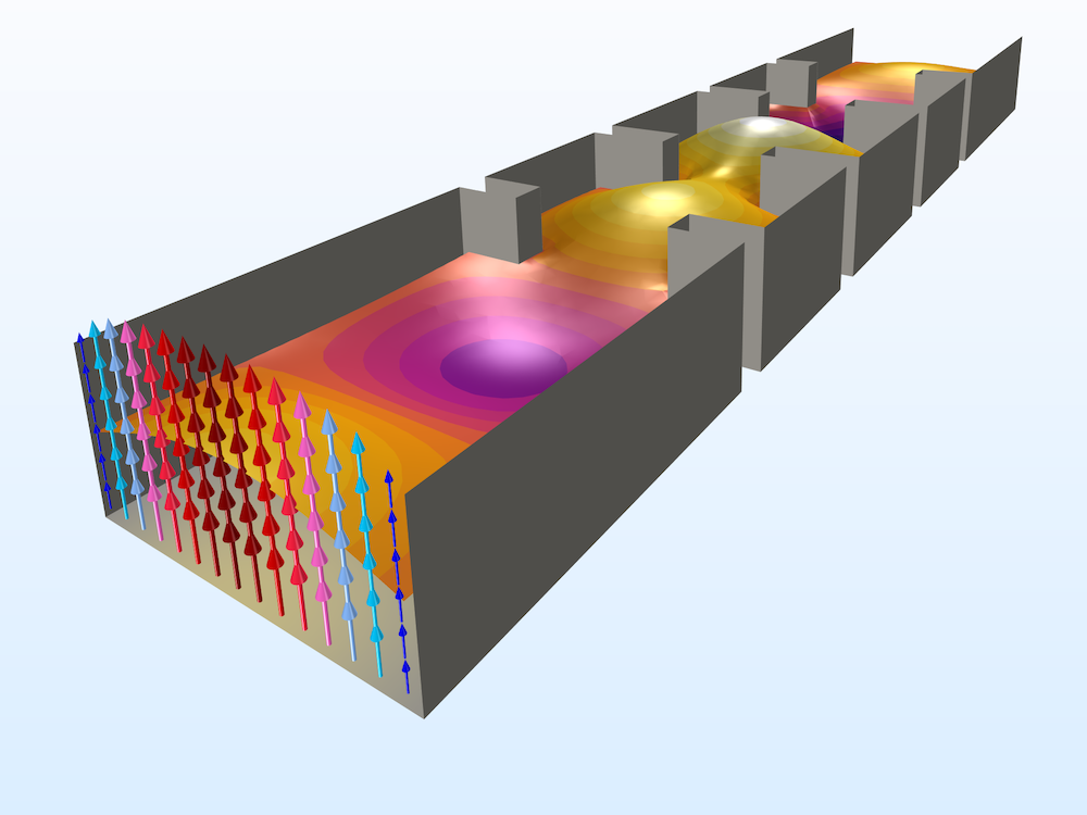 An image of a waveguide iris filter model.