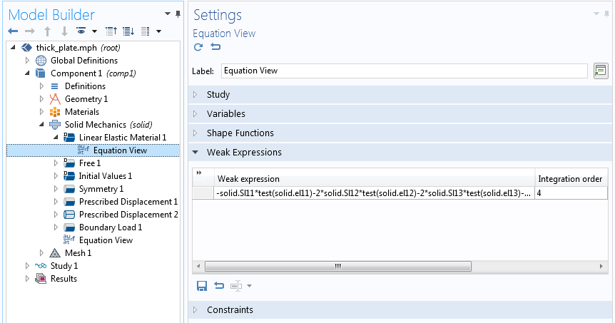A screenshot of the Equation View settings with a weak expression.
