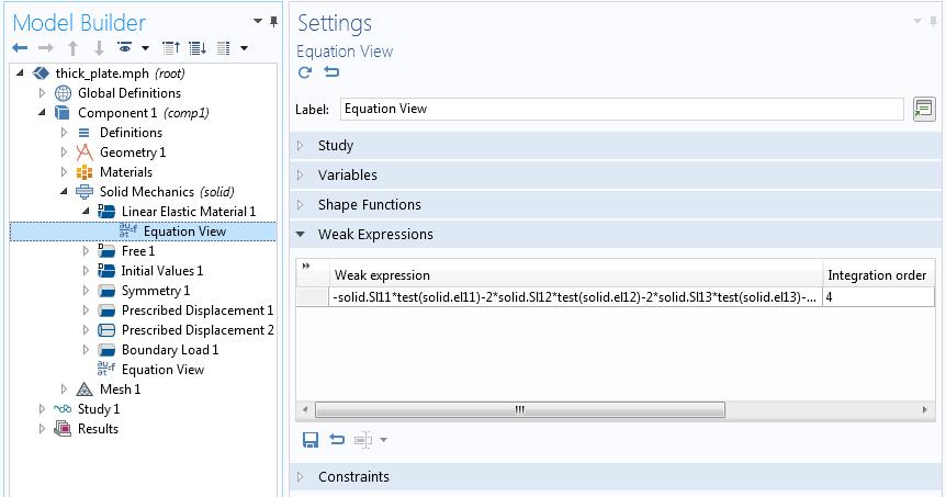 带有弱表达式的方程视图设置的屏幕截图。