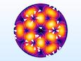 A streamline plot for mode TE32 of a circular port.