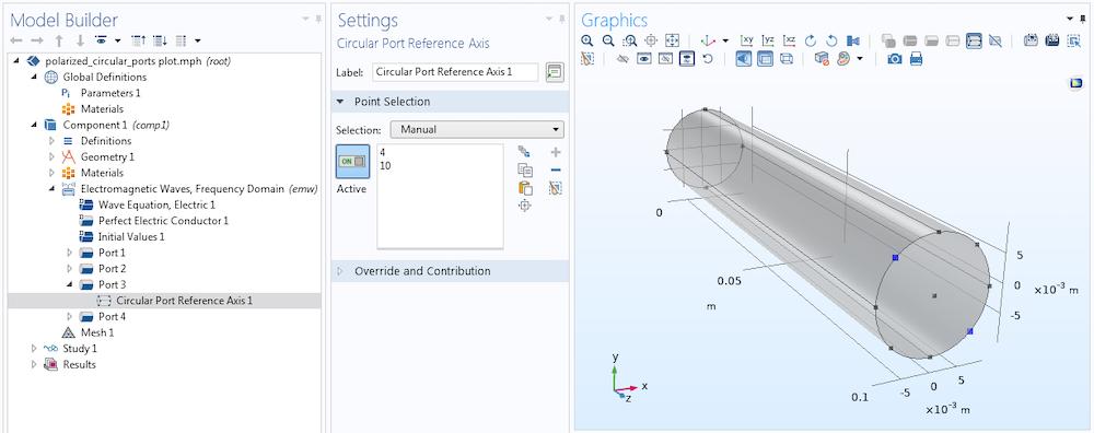 在 COMSOL Multiphysics® 中使用圆形端口模拟的模型