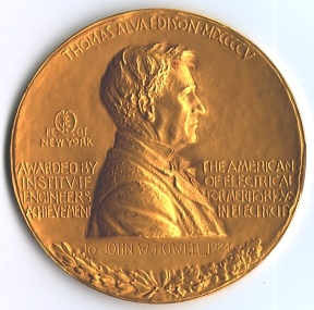 A photograph of an Edison Medal from 1924.