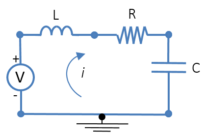 A graphic of an electrical circuit used as a mobility analogy to a lumped mechanical system.