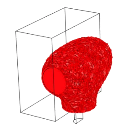 A 3D plot of the laser beam with the centered microphone.