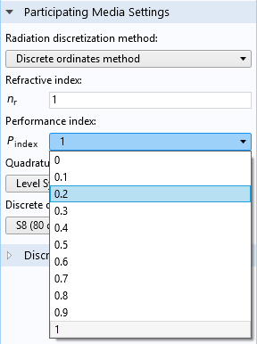 A screenshot of the performance index settings in COMSOL Multiphysics®.