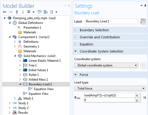 A screenshot of showing the complex representation of a load in the Model Builder settings.