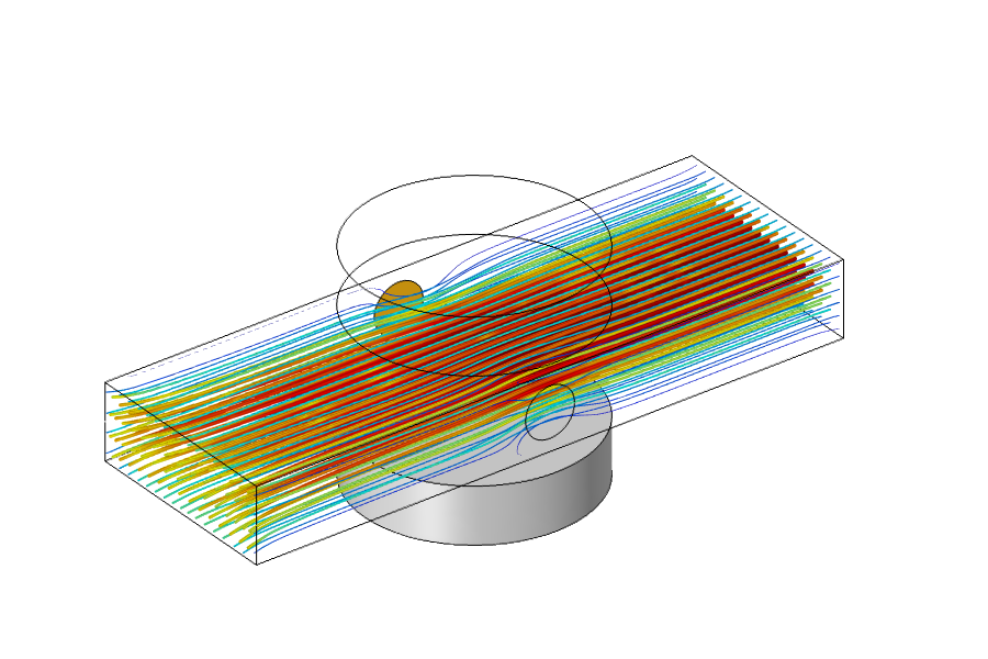 An image of the results for an MHD multiphysics simulation in COMSOL.