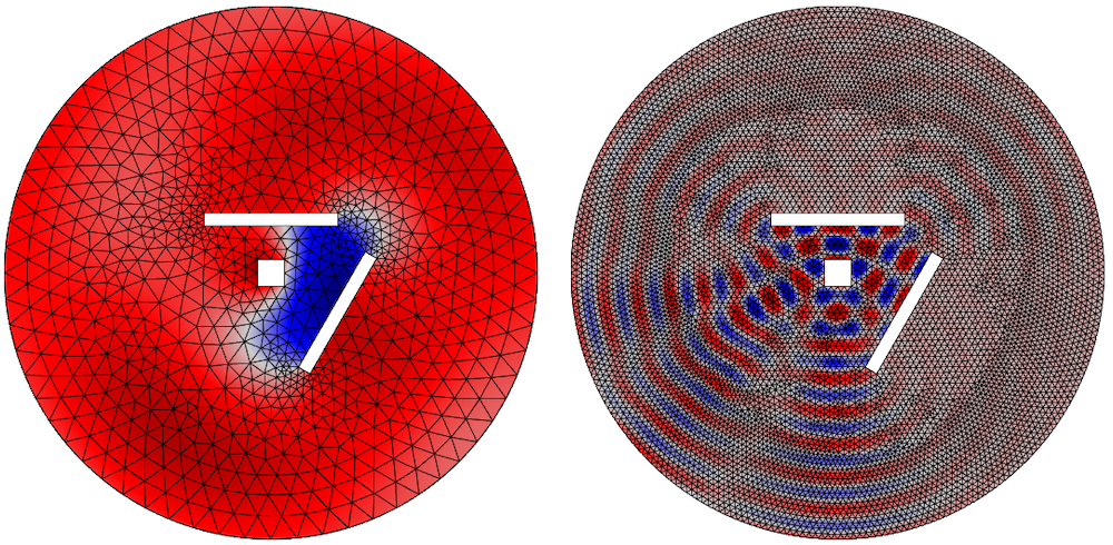 Side-by-side images showing the instantaneous pressure for different frequencies and meshes.