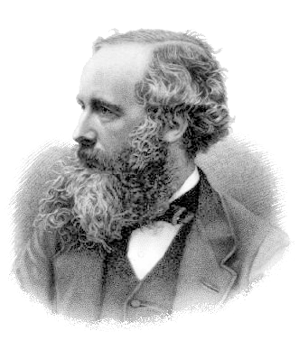 A black-and-white portrait of James Clerk Maxwell.