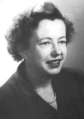 A black-and-white photograph of Maria Goeppert Mayer.