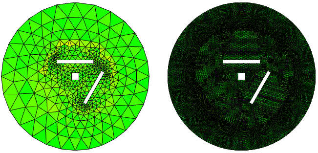 Side-by-side images of the mesh element quality of two frequency bands for acoustics simulations.