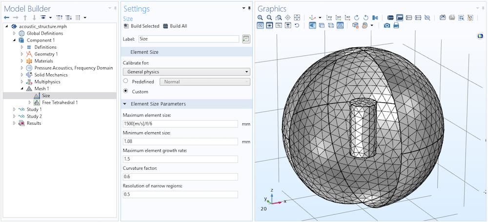 A screenshot showing the Settings and Graphics windows for the mesh element size.