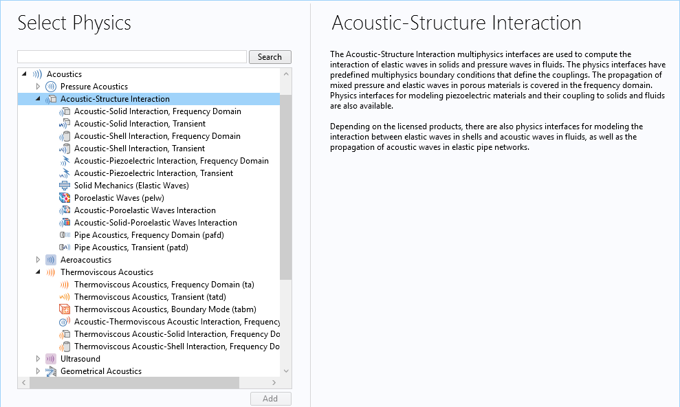 A screenshot of the interfaces for modeling acoustic-structure interactions.