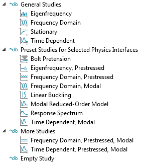 A screenshot that shows the available study types for a Solid Mechanics interface in COMSOL Multiphysics®.