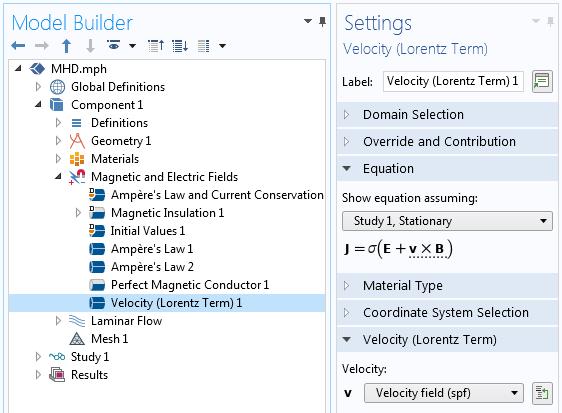 Скриншот окна настроек условия Velocity (Lorentz term), иллюстрирующий организацию связки э/м и CFD-анализа.