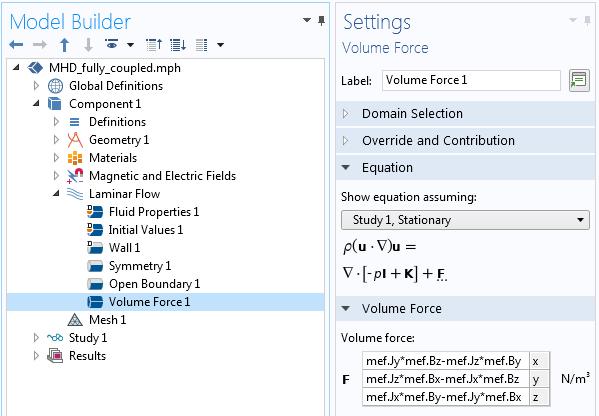 Скриншот окна настроек условия Volume Force в COMSOL Multiphysics®.