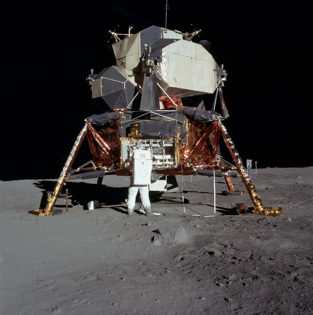 A photograph of Buzz Aldrin outside of the lunar module during Apollo 11.