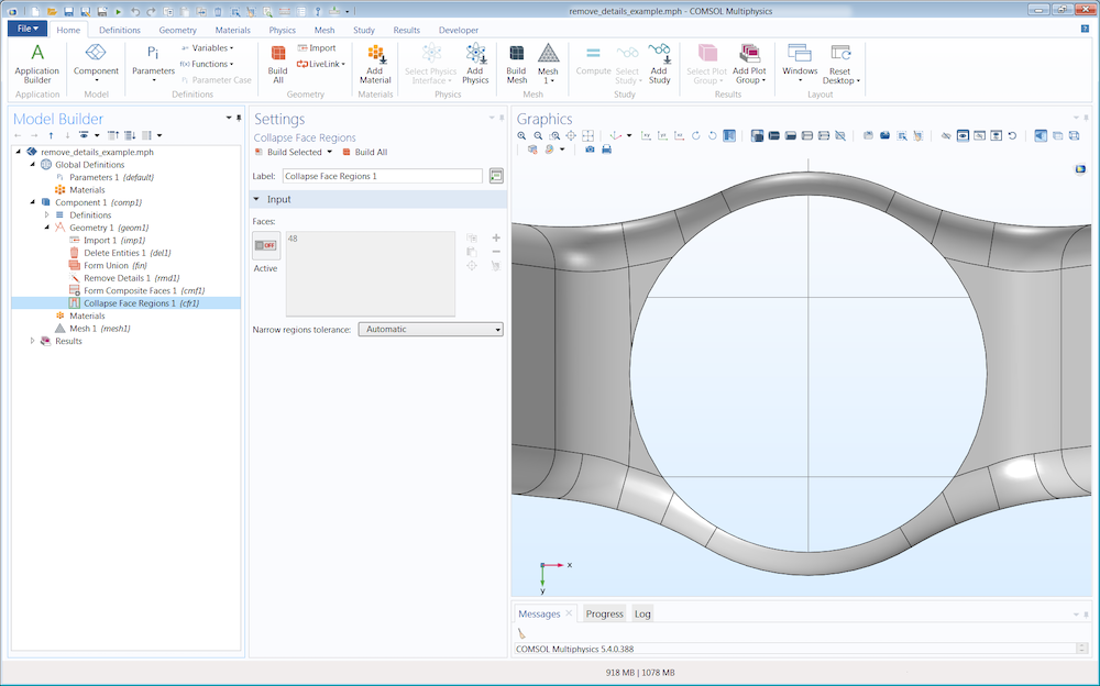 A screenshot showing two ways to remove small details in your model geometry in COMSOL Multiphysics®.
