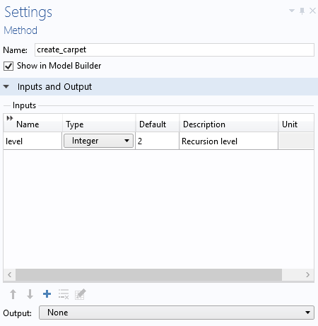 A screenshot showing the settings for the create_carpet method.