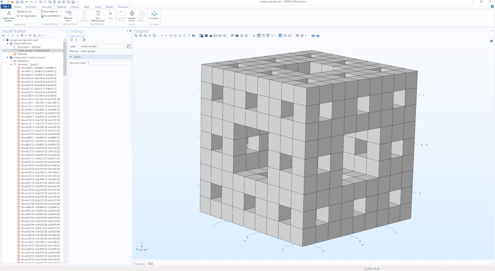 An image showing a recursively defined geometry object in COMSOL Multiphysics®.